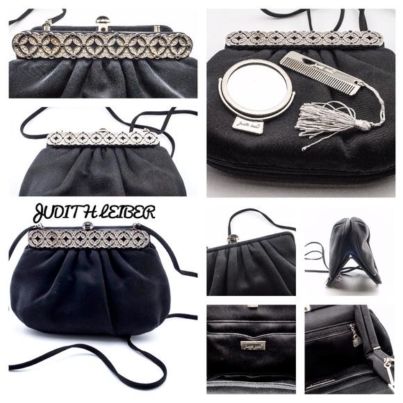 Judith Leiber Handbags - SOLD! Judith Leiber Black Satin Classic Bag Purse